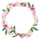 Krásná růžová Pivoňka květy se zelenými listy izolované na bílém pozadí. Akvarel výkresu aquarelle. Frame hranice ornament