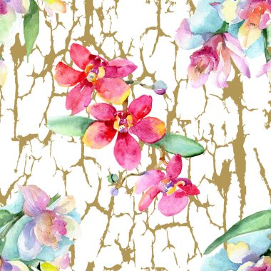 Beautiful orchid flowers with green leaves. Watercolor background illustration. Seamless background pattern. Fabric wallpaper print texture. stock vector