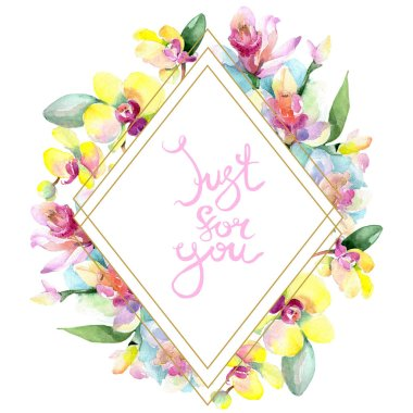 Beautiful orchid flowers with green leaves isolated on white. Watercolor background illustration. Watercolour drawing fashion aquarelle. Frame border ornament. Just for you inscription stock vector