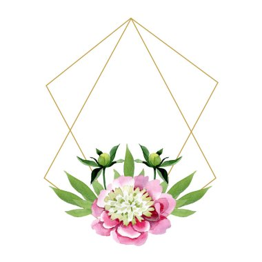 Beautiful pink peony flower with buds and green leaves isolated on white background. Watercolour drawing aquarelle. Frame border ornament. Diamond jewelry mineral. stock vector