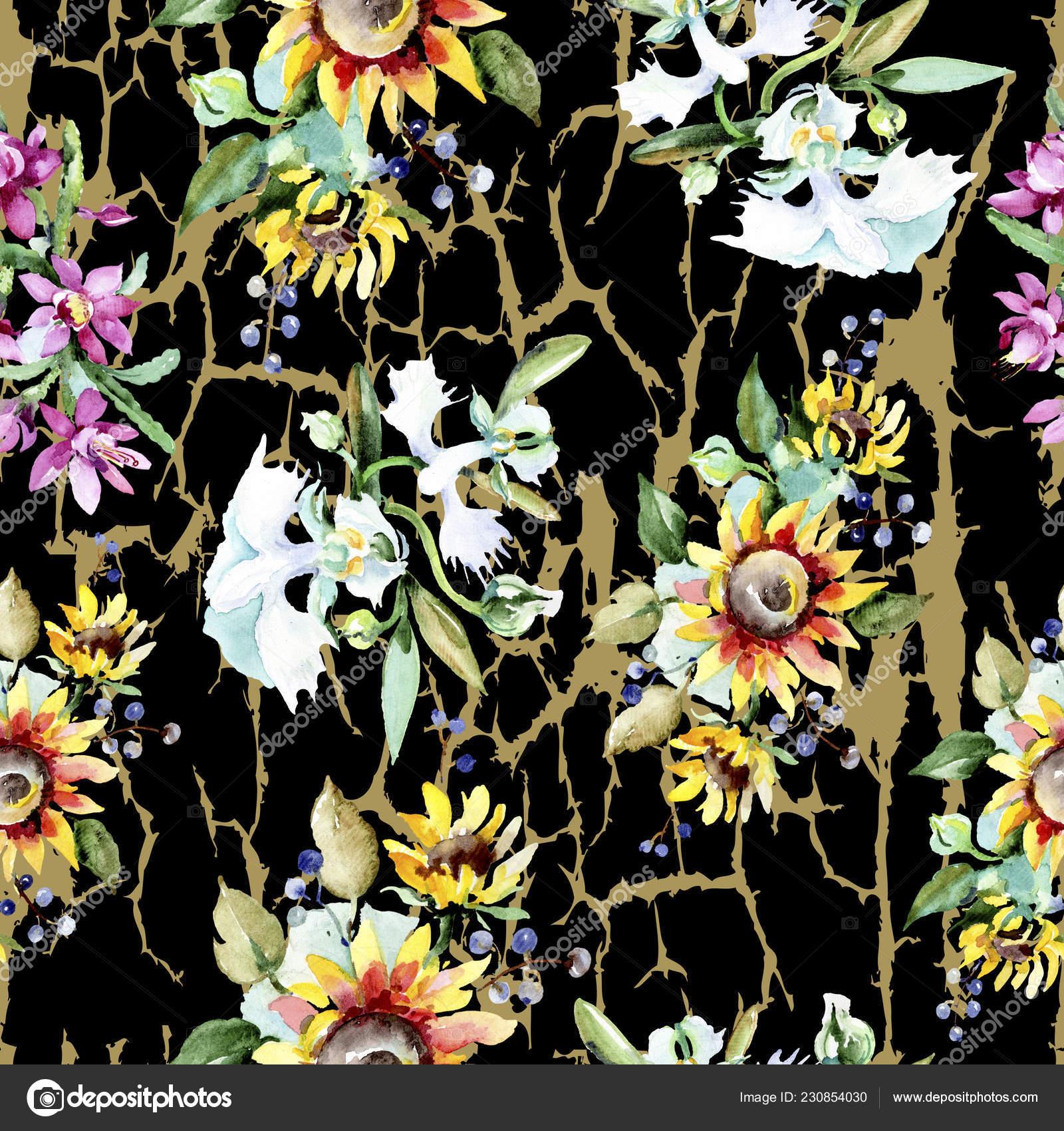 Fundo Lindas Flores Aquarela Aquarelle Desenho Aguarela
