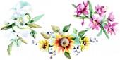 Krásné akvarel květy na bílém pozadí. Akvarel výkresu aquarelle ilustrace. Izolované kytici květin obrázek prvku