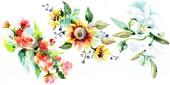 Bei fiori dellacquerello su fondo bianco. Illustrazione di aquarelle disegno acquerello. Mazzo isolato dellelemento di fiori illustrazione