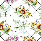Fotografie Beautiful watercolor flowers background. Watercolour drawing aquarelle. Seamless background pattern. Fabric wallpaper print texture.