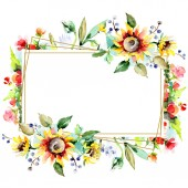 Fotografie Beautiful watercolor flowers on white background. Watercolour drawing aquarelle. Isolated bouquet of flowers illustration element. Frame border ornament.