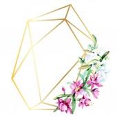 Fotografia Bei fiori dellacquerello su fondo bianco. Aquarelle disegno acquerello. Bouquet isolato di elemento di fiori illustrazione. Ornamento del bordo cornice