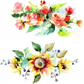 Fotografie Beautiful watercolor flowers on white background. Watercolour drawing aquarelle illustration. Isolated bouquet of flowers illustration element.