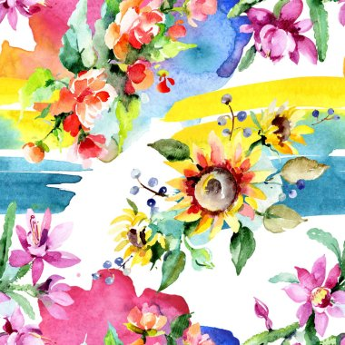 Beautiful watercolor flowers background. Watercolour drawing aquarelle. Seamless background pattern. Fabric wallpaper print texture. stock vector