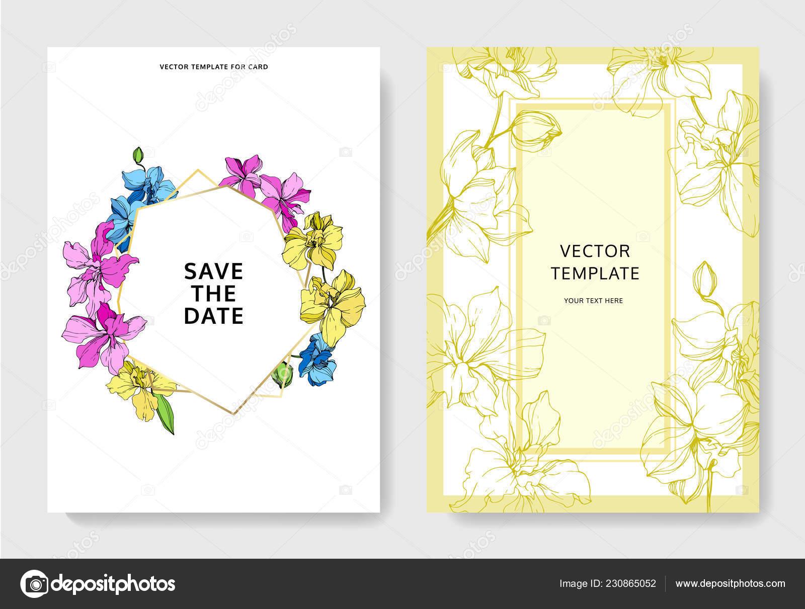 Hochzeitskarten Mit Blumen Dekorative Grenzen Schone Orchidee Bluht