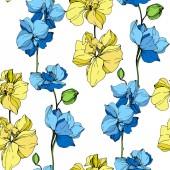 Fényképek Gyönyörű sárga és kék orchidea virágok. Vésett tinta art. Varratmentes háttérben minta. Szövet tapéta nyomtatása textúra fehér háttér