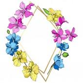 Fotografia Fiori di orchidea rosa, blu e gialli. Arte di inchiostro inciso. Cristallo cornice dorato. Forma di mosaico di cristallo geometrico pietra poliedro