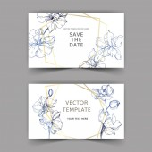 Fotografie Wedding cards with floral decorative borders. Beautiful orchid flowers. Thank you, rsvp, invitation elegant cards illustration graphic set.