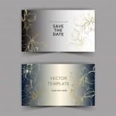 Svatební oznámení s květinovou dekorativní hranice. Nádherné květy orchidejí. Děkuji, rsvp, pozvání elegantní karty ilustrace grafický set.