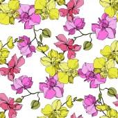 Fotografie Schöne rosa und gelbe Orchidee blüht. Nahtlose Hintergrundmuster. Tapete Drucken Stoff. Gravierte Tinte Kunst.