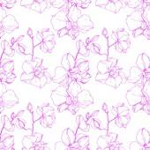 Gyönyörű rózsaszín orchidea virágok. Varratmentes háttérben minta. Szövet nyomtatási textúrát. Vésett tinta art.