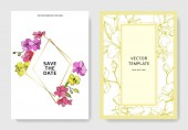 Nádherné květy orchidejí vyryto inkoust umění. Svatební oznámení s květinovou dekorativní hranice. Děkuji, rsvp, pozvání elegantní karty ilustrace grafický set.