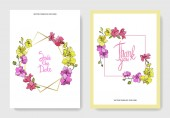Fotografie Beautiful orchid flowers engraved ink art. Wedding cards with floral decorative borders. Thank you, rsvp, invitation elegant cards illustration graphic set.
