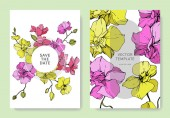 Beautiful orchid flowers engraved ink art. Wedding cards with floral decorative borders. Thank you, rsvp, invitation elegant cards illustration graphic set.