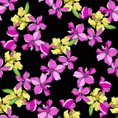 Beautiful yellow and pink orchid flowers. Seamless background pattern. Fabric wallpaper print texture on black background. clip art vector
