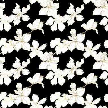 Beautiful orchid flowers. Black and white engraved ink art. Seamless background pattern. Fabric wallpaper print texture on black background. clip art vector