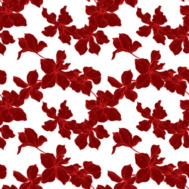 Beautiful red orchid flowers. Engraved ink art. Seamless background pattern. Fabric wallpaper print texture on white background. clip art vector