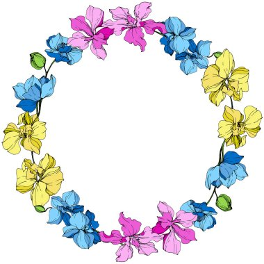 Yellow, blue and pink orchids. Engraved ink art. Frame floral wreath on white background. stock vector