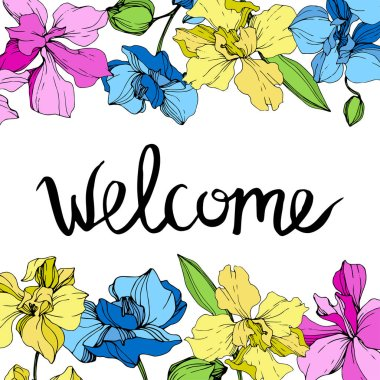 Yellow, blue and pink orchids. Engraved ink art. Floral borders. Welcome handwriting monogram calligraphy.