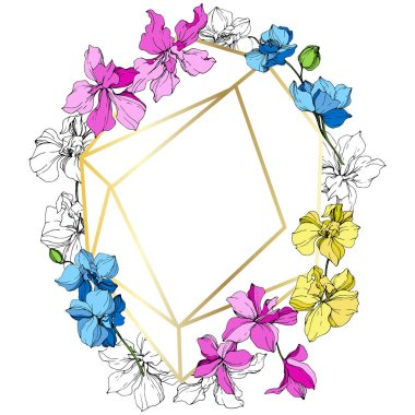 Pink, blue and yellow orchid flowers. Engraved ink art. Frame golden crystal. Geometric crystal stone polyhedron mosaic shape. clip art vector