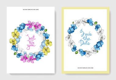 Wedding cards with floral decorative borders. Beautiful orchid flowers. Thank you, rsvp, invitation elegant cards illustration graphic set. clip art vector