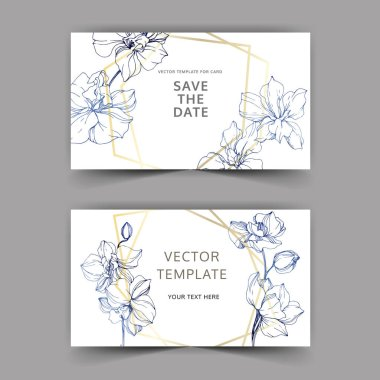 Wedding cards with floral decorative borders. Beautiful orchid flowers. Thank you, rsvp, invitation elegant cards illustration graphic set.