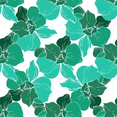 Beautiful green orchid flowers on white background. Engraved ink art. Seamless background pattern. Fabric wallpaper print texture.