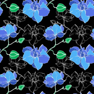 Beautiful blue orchid flowers. Engraved ink art. Seamless background pattern. Fabric wallpaper print texture. clip art vector