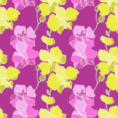 Beautiful pink and yellow orchid flowers. Seamless background pattern. Fabric wallpaper print texture. Engraved ink art. clip art vector