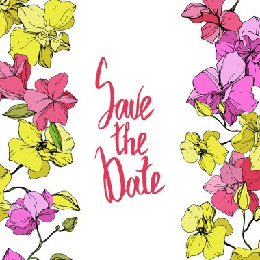 Beautiful pink and yellow orchid flowers. Engraved ink art. Floral borders. Save the Date handwriting monogram calligraphy. clip art vector