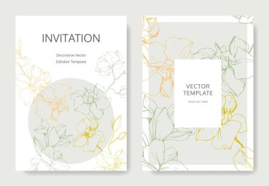 Yellow, green and orange orchid flowers. Engraved ink art. Wedding cards with floral decorative borders. Thank you, rsvp, invitation elegant cards illustration graphic set.