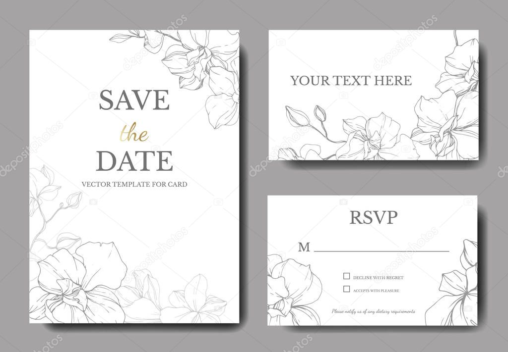 Beautiful Vector Orchid Flowers. Silver engraved ink art. Wedding cards with floral decorative borders. Thank you, rsvp, invitation elegant cards illustration graphic set. stock vector