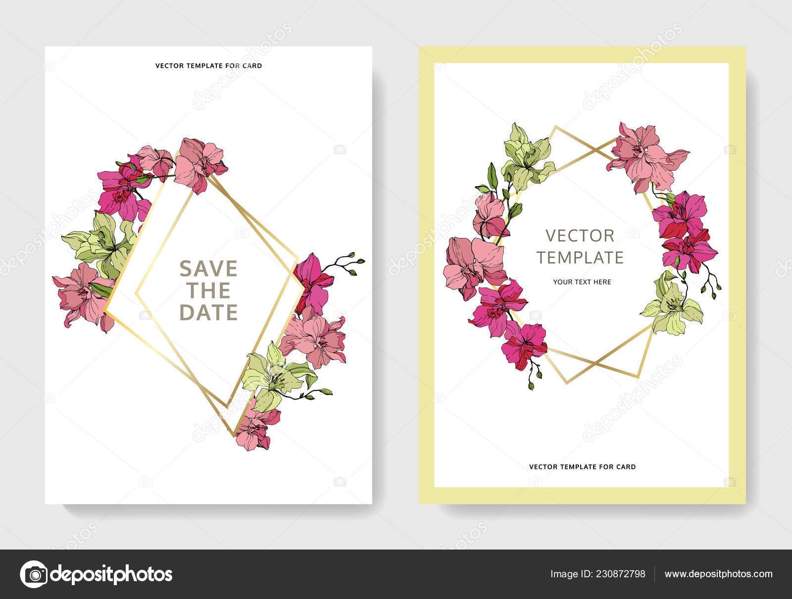 Schone Orchidee Bluht Graviert Tinte Kunst Hochzeitskarten Mit