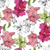 Fotografie Beautiful pink and yellow orchid flowers. Seamless background pattern. Fabric wallpaper print texture. Engraved ink art on white background.