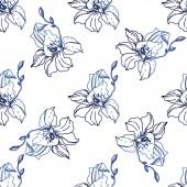 Krásné modré květy orchidejí. Vzor bezešvé pozadí. Fabric tapety tisku texturu. Ryté inkoust umění na bílém pozadí.