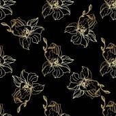 Bei fiori dellorchidea doro. Reticolo senza giunte della priorità bassa. Struttura di stampa carta da parati di tessuto. Arte di inchiostro inciso su priorità bassa nera