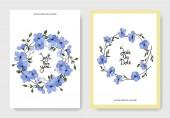 Vektor. Modré květy lnu. Ryté inkoust umění. Svatební oznámení s květinovou dekorativní hranice. Děkuji, rsvp, pozvání elegantní karty ilustrace grafický set.