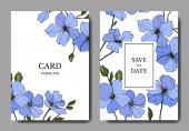 Vector. Blue flax flowers. Engraved ink art. Wedding cards with floral decorative borders. Thank you, rsvp, invitation elegant cards illustration graphic set.