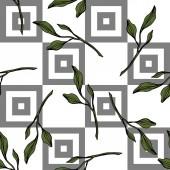 Fotografie Vektor. grüne blätter botanischer garten blumenblätter. Tuschebilder. nahtloses Muster auf weißem Hintergrund. Stoff Tapete drucken Textur.