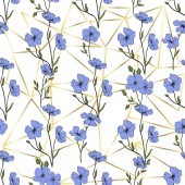Gyönyörű kék len virágok. Vésett tinta art. Varrat nélküli mintát a fehér háttér előtt. Anyagot a nyomtatási textúrát.
