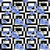 Fotografie Wunderschönen blauen Flachs Blüten. Gravierte Tinte Kunst. Nahtlose Muster auf weißem Hintergrund. Stoff Tapete drucken.