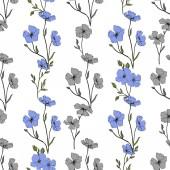 Krásné modré květy lnu. Ryté inkoust umění. Bezproblémové vzor na bílém podkladu. Fabric tapety tisku textura