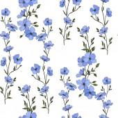 schöne blaue Flachsblüten. Tuschebilder. nahtloses Muster auf weißem Hintergrund. Stoff Tapete drucken Textur.