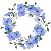 Fotografie Vector. Blue flax flowers with green leaves isolated on white background. Engraved ink art. Frame floral wreath.