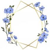 Fotografia Vettore. Fiori del lino blu con foglie verdi e germogli. Arte di inchiostro inciso. Cristallo cornice dorato. Forma di mosaico di cristallo geometrico pietra poliedro