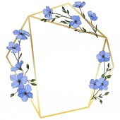 Photo Vector. Blue flax flowers with green leaves and buds. Engraved ink art. Frame golden crystal. Geometric crystal stone polyhedron mosaic shape.